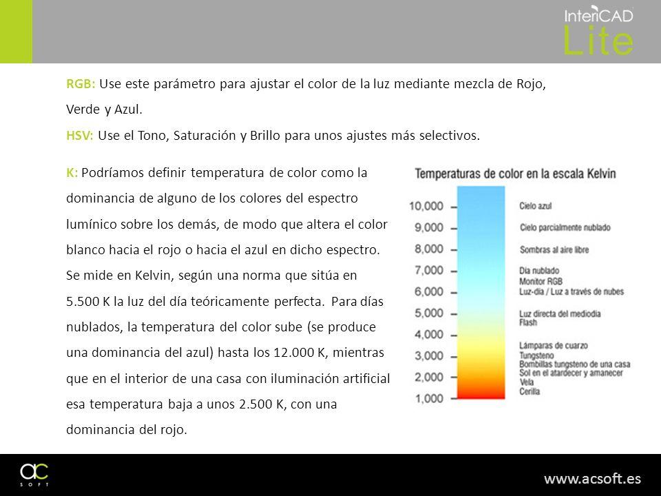 www.acsoft.es RGB: Use este parámetro para ajustar el color de la luz mediante mezcla de Rojo, Verde y Azul. HSV: Use el Tono, Saturación y Brillo par