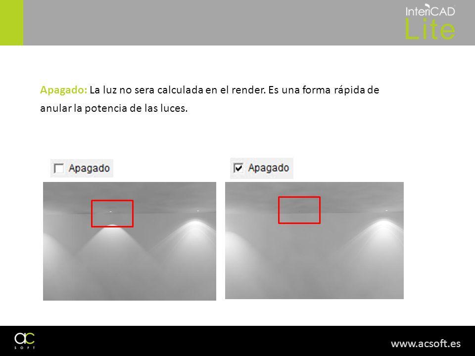 www.acsoft.es Apagado: La luz no sera calculada en el render. Es una forma rápida de anular la potencia de las luces.
