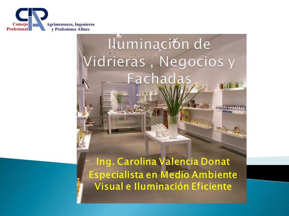 Ing. Carolina Valencia Donat Especialista en Medio Ambiente Visual e Iluminación Eficiente