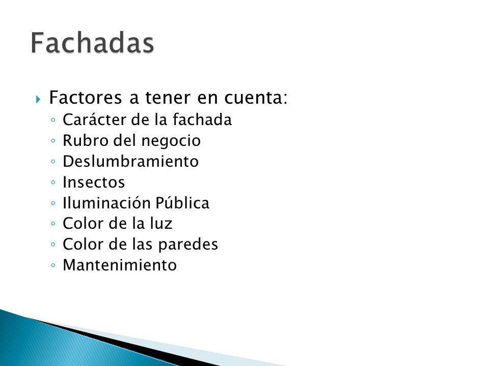 Factores a tener en cuenta: Carácter de la fachada Rubro del negocio Deslumbramiento Insectos Iluminación Pública Color de la luz Color de las paredes