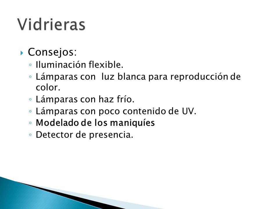 Consejos: Iluminación flexible. Lámparas con luz blanca para reproducción de color. Lámparas con haz frío. Lámparas con poco contenido de UV. Modelado