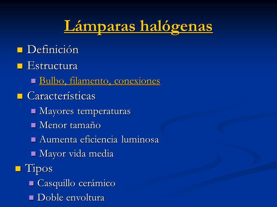 Lámparas halógenas Lámparas halógenas Definición Definición Estructura Estructura Bulbo, filamento, conexiones Bulbo, filamento, conexiones Bulbo, fil