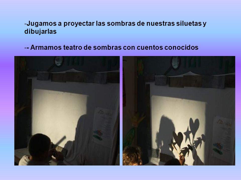 -Jugamos a proyectar las sombras de nuestras siluetas y dibujarlas -- Armamos teatro de sombras con cuentos conocidos