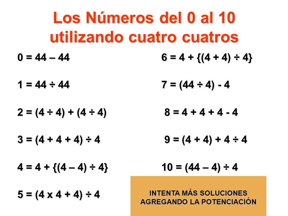 Los Números del 0 al 10 utilizando cuatro cuatros 0 = 44 – 446 = 4 + {(4 + 4) ÷ 4} 1 = 44 ÷ 447 = (44 ÷ 4) - 4 2 = (4 ÷ 4) + (4 ÷ 4) 8 = 4 + 4 + 4 - 4