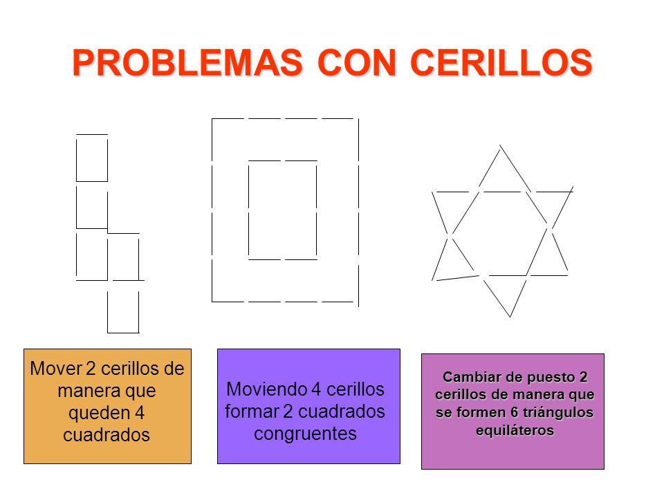 PROBLEMAS CON CERILLOS Mover 2 cerillos de manera que queden 4 cuadrados Moviendo 4 cerillos formar 2 cuadrados congruentes Cambiar de puesto 2 cerill