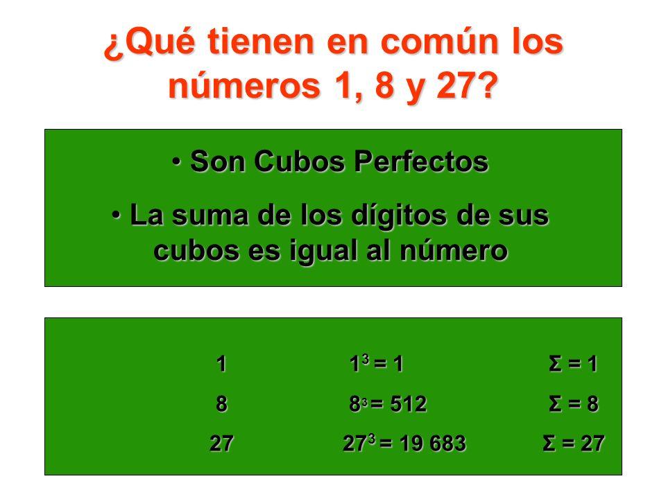 ¿Qué tienen en común los números 1, 8 y 27? Son Cubos Perfectos Son Cubos Perfectos La suma de los dígitos de sus cubos es igual al número La suma de