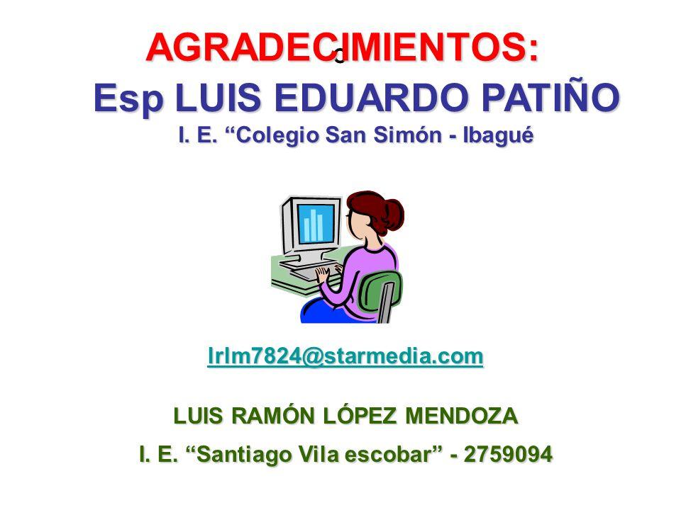 º AGRADECIMIENTOS: lrlm7824@starmedia.com LUIS RAMÓN LÓPEZ MENDOZA I. E. Santiago Vila escobar - 2759094 Esp LUIS EDUARDO PATIÑO I. E. Colegio San Sim