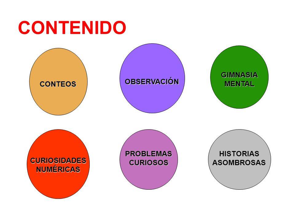 CONTENIDO CONTEOS OBSERVACIÓN GIMNASIA MENTAL CURIOSIDADES NUMÉRICAS PROBLEMAS CURIOSOS HISTORIAS ASOMBROSAS