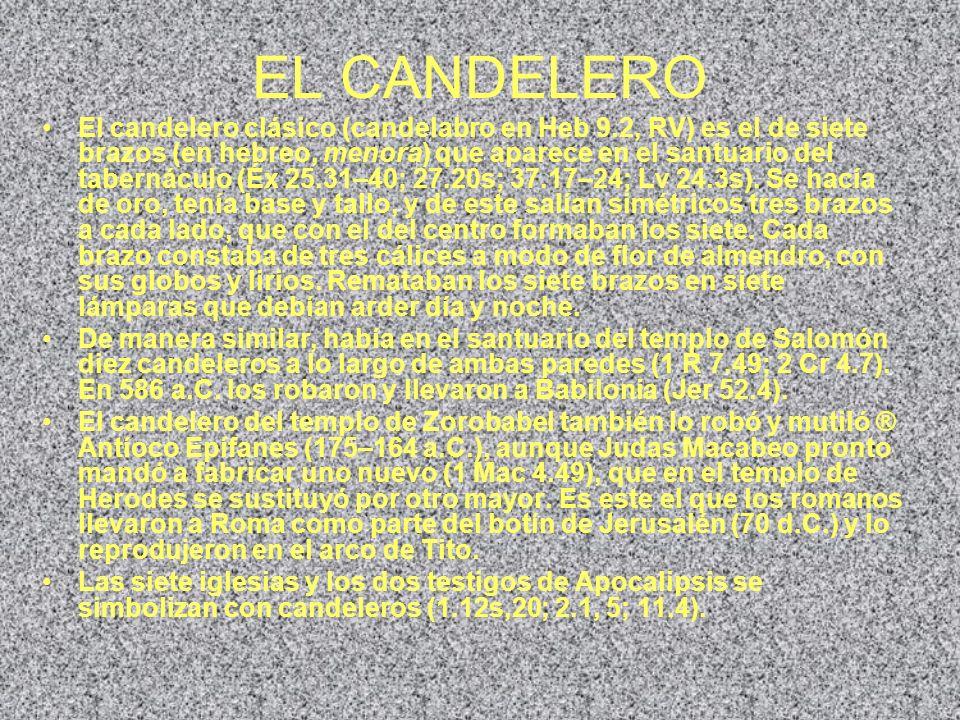EL CANDELERO El candelero clásico (candelabro en Heb 9.2, RV) es el de siete brazos (en hebreo, menora) que aparece en el santuario del tabernáculo (É