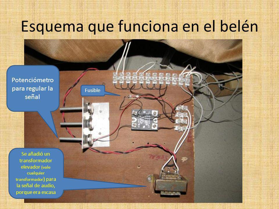 Esquema que funciona en el belén Se añadió un transformador elevador (vale cualquier transformador ) para la señal de audio, porque era escasa Potenciómetro para regular la señal Fusible