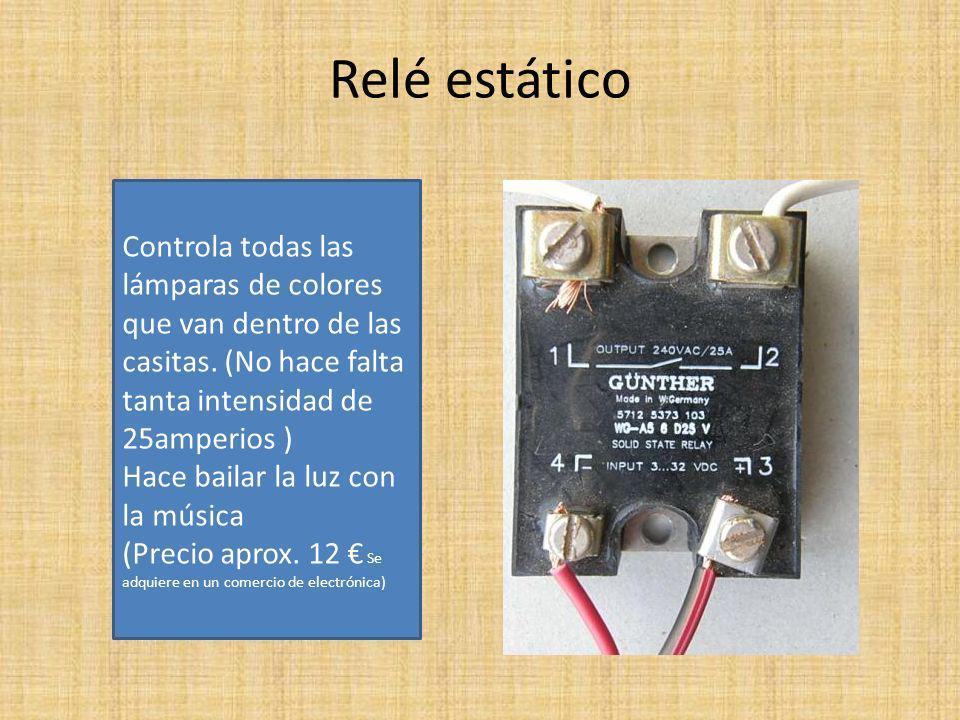 Relé estático Controla todas las lámparas de colores que van dentro de las casitas.
