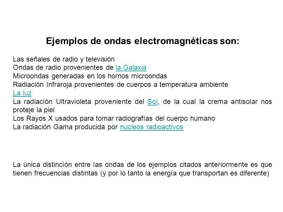 Ejemplos de ondas electromagnéticas son: Las señales de radio y televisión Ondas de radio provenientes de la Galaxiala Galaxia Microondas generadas en