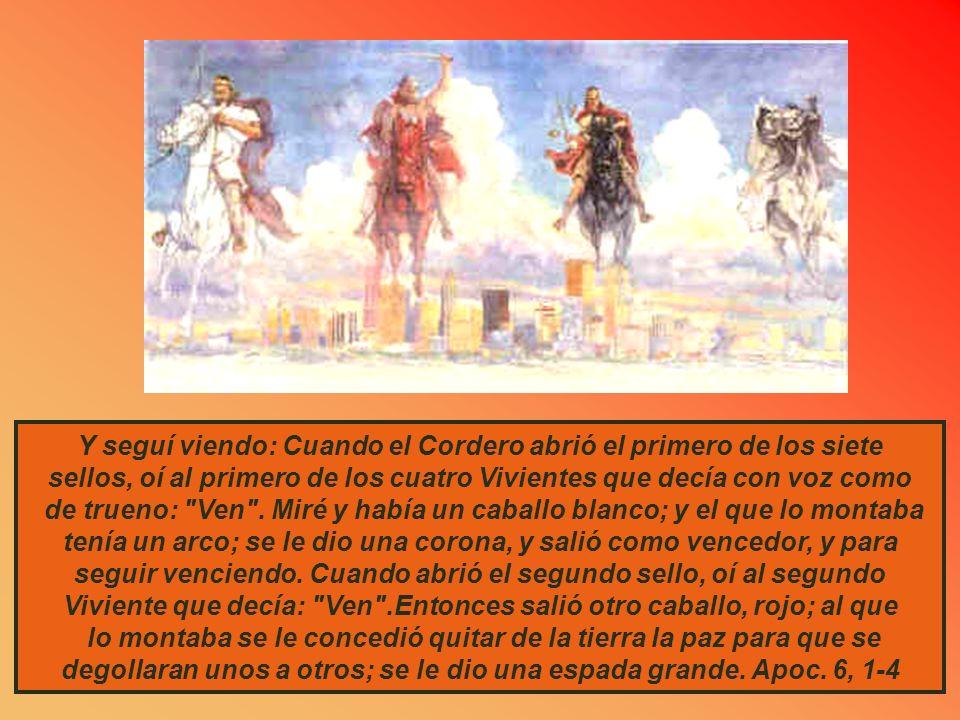 PRIMERA VISION: LOS JINETES Yo tuve una visión durante la noche: Había un hombre montado en un caballo rojo. Estaba parado entre los mirtos que se enc