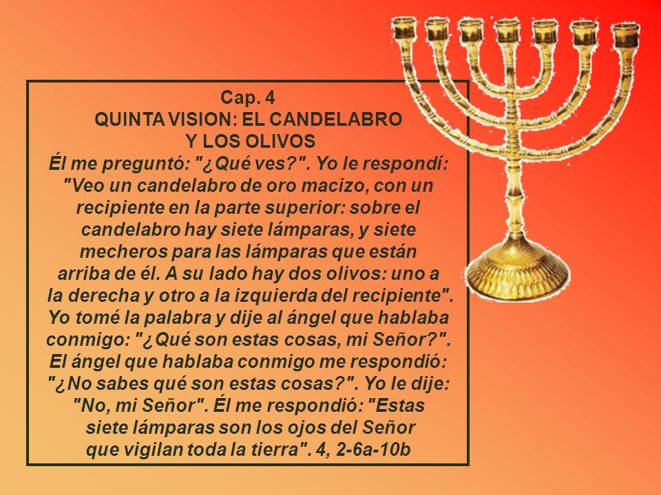 Cap. 3 CUARTA VISION: LA VESTIDURA DE JOSUE Después el ángel del Señor advirtió solemnemente a Josué: