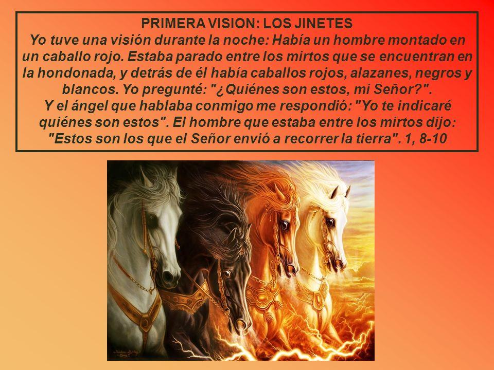 PRIMERA VISION: LOS JINETES Yo tuve una visión durante la noche: Había un hombre montado en un caballo rojo.