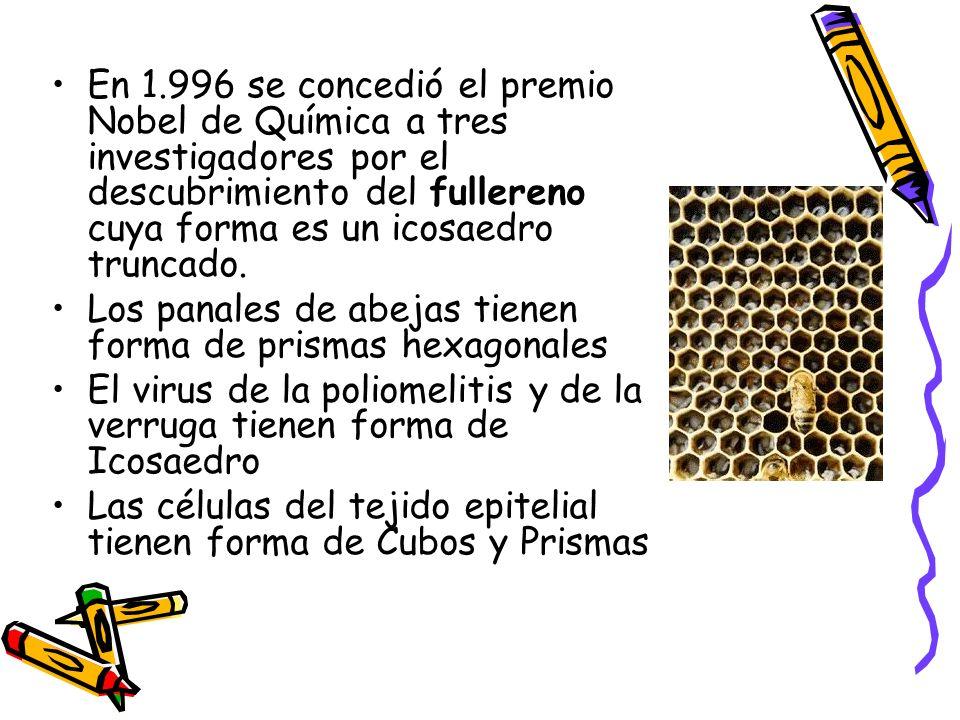 En 1.996 se concedió el premio Nobel de Química a tres investigadores por el descubrimiento del fullereno cuya forma es un icosaedro truncado. Los pan