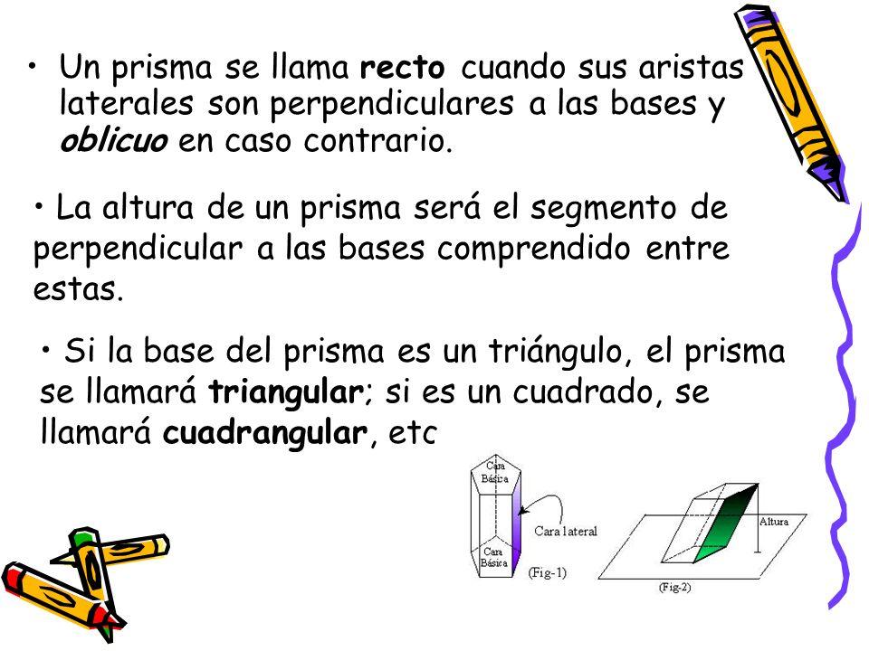 Un prisma se llama recto cuando sus aristas laterales son perpendiculares a las bases y oblicuo en caso contrario. La altura de un prisma será el segm