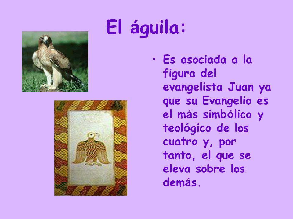 El á guila: Es asociada a la figura del evangelista Juan ya que su Evangelio es el m á s simb ó lico y teol ó gico de los cuatro y, por tanto, el que