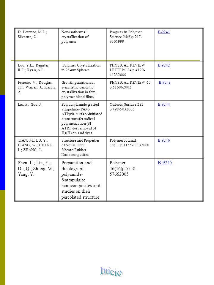 Documentos solicitados por Materiales Liang, F.; Sadana, A.K.; Peera, A.
