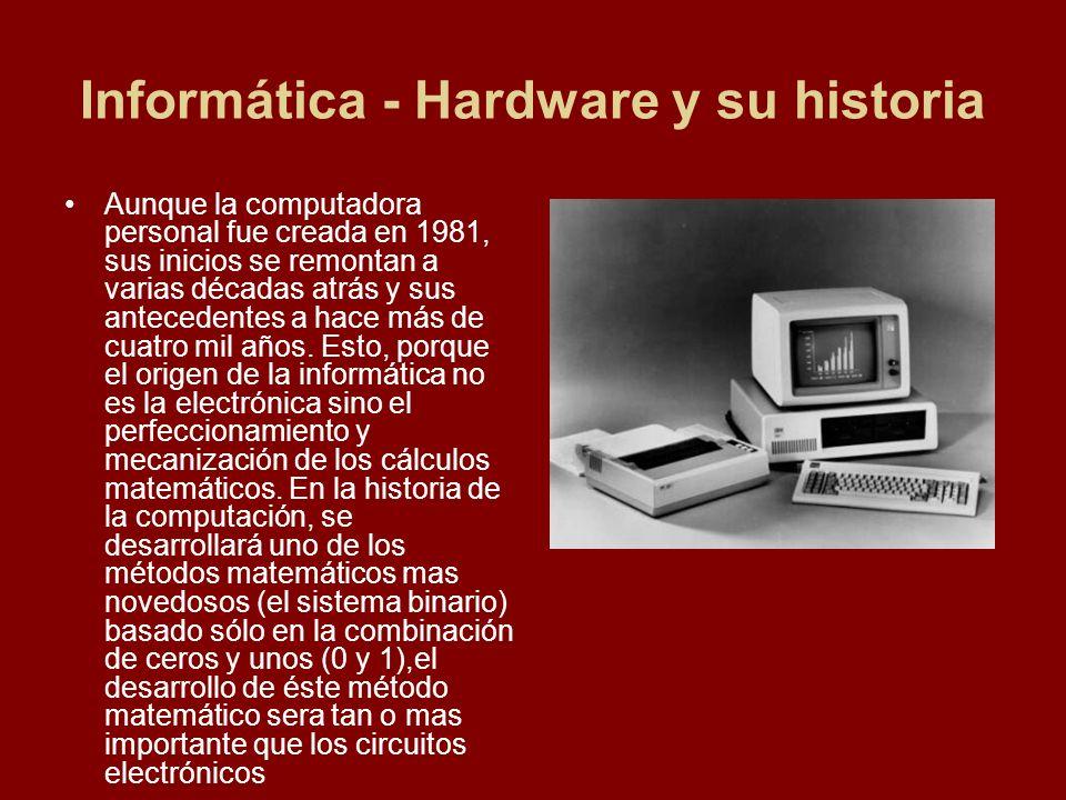 Informática - Hardware y su historia Aunque la computadora personal fue creada en 1981, sus inicios se remontan a varias décadas atrás y sus anteceden