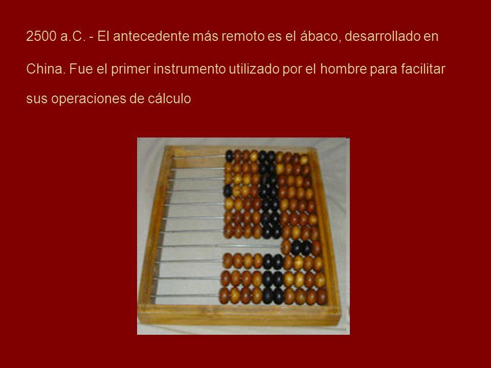 2500 a.C. - El antecedente más remoto es el ábaco, desarrollado en China. Fue el primer instrumento utilizado por el hombre para facilitar sus operaci