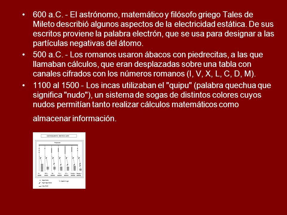 600 a.C. - El astrónomo, matemático y filósofo griego Tales de Mileto describió algunos aspectos de la electricidad estática. De sus escritos proviene