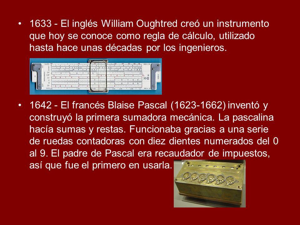 1633 - El inglés William Oughtred creó un instrumento que hoy se conoce como regla de cálculo, utilizado hasta hace unas décadas por los ingenieros. 1