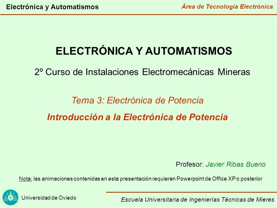 Área de Tecnología Electrónica Universidad de Oviedo Electrónica y Automatismos Escuela Universitaria de Ingenierías Técnicas de Mieres Electrónica de potencia: Introducción: tipos de electrónica Transformación de la energía eléctrica Dispositivos de potencia Conversión CA/CC: rectificadores Conversión CC/CC Conversión CC/CA: inversores Aplicaciones
