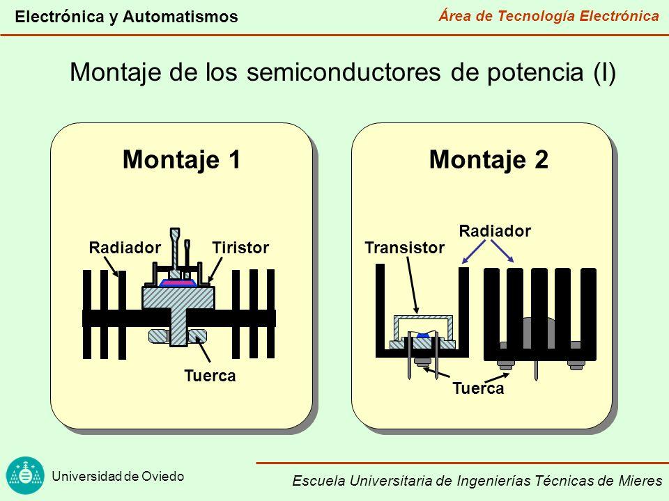 Área de Tecnología Electrónica Universidad de Oviedo Electrónica y Automatismos Escuela Universitaria de Ingenierías Técnicas de Mieres Montaje de los semiconductores de potencia (II) Montaje 3 Radiador Press-package