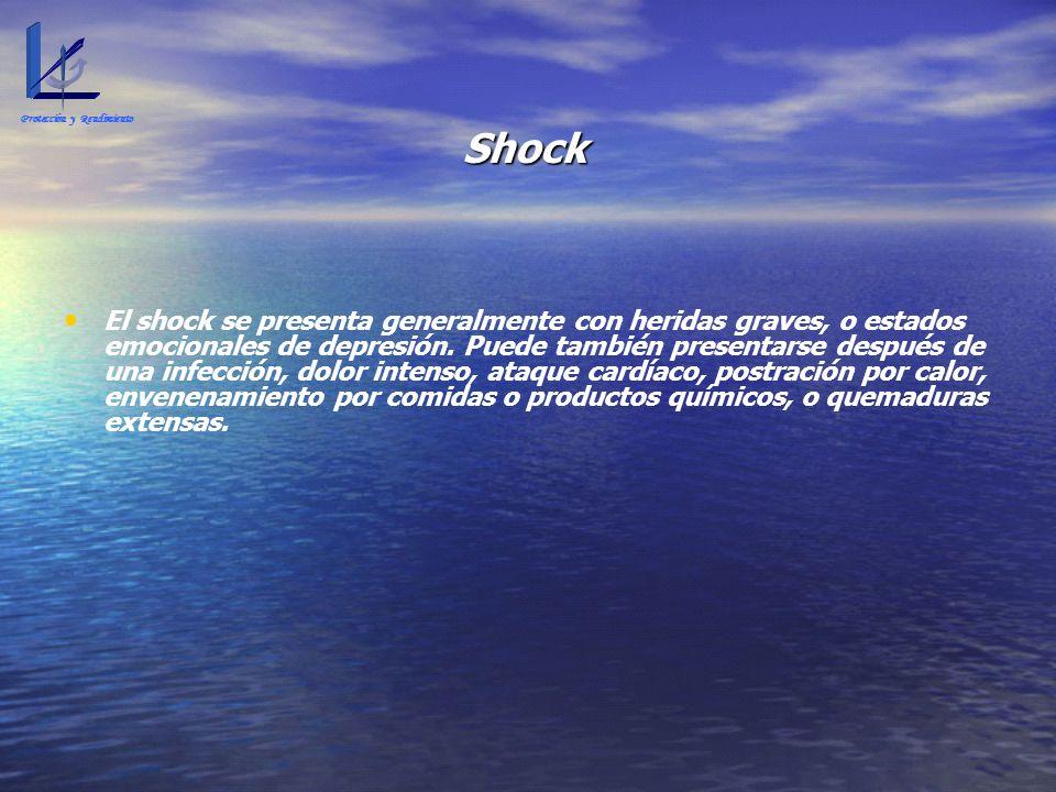 Shock El shock se presenta generalmente con heridas graves, o estados emocionales de depresión. Puede también presentarse después de una infección, do
