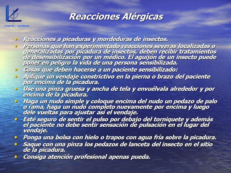 Reacciones Alérgicas Reacciones a picaduras y mordeduras de insectos. Reacciones a picaduras y mordeduras de insectos. Personas que han experimentado