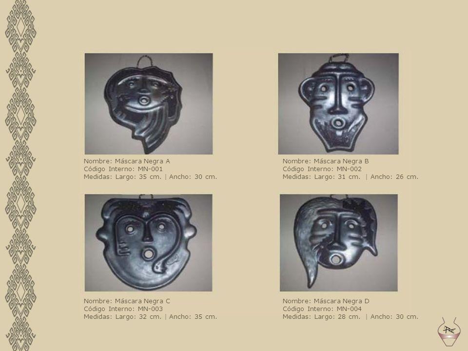 Nombre: Máscara Negra A Código Interno: MN-001 Medidas: Largo: 35 cm. | Ancho: 30 cm. Nombre: Máscara Negra B Código Interno: MN-002 Medidas: Largo: 3