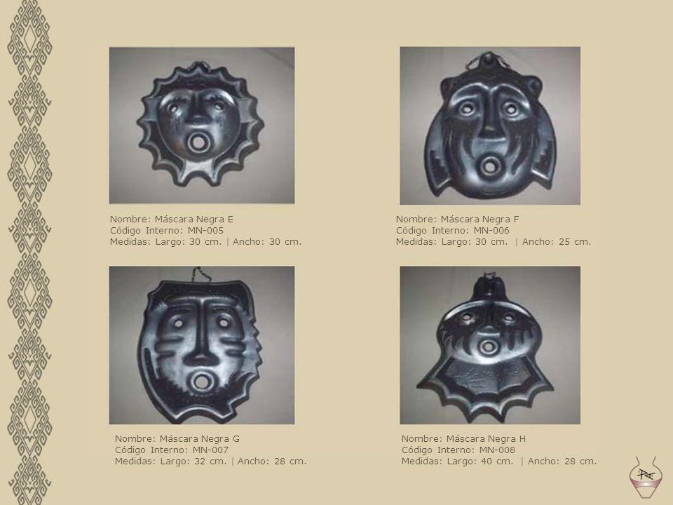 Nombre: Máscara Negra E Código Interno: MN-005 Medidas: Largo: 30 cm. | Ancho: 30 cm. Nombre: Máscara Negra F Código Interno: MN-006 Medidas: Largo: 3