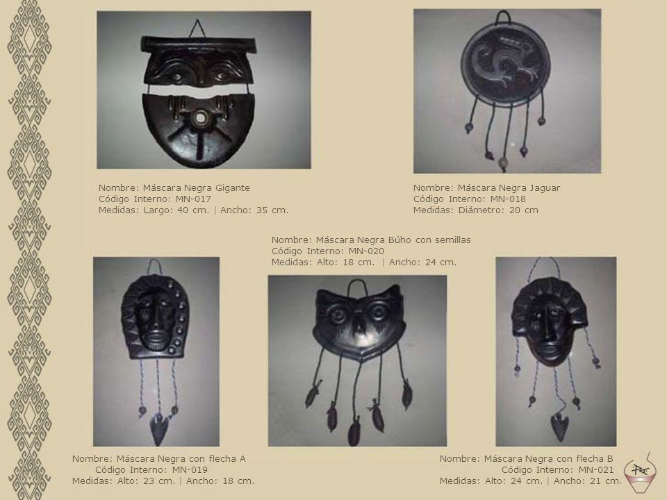 Nombre: Máscara Negra Gigante Código Interno: MN-017 Medidas: Largo: 40 cm. | Ancho: 35 cm. Nombre: Máscara Negra Jaguar Código Interno: MN-018 Medida
