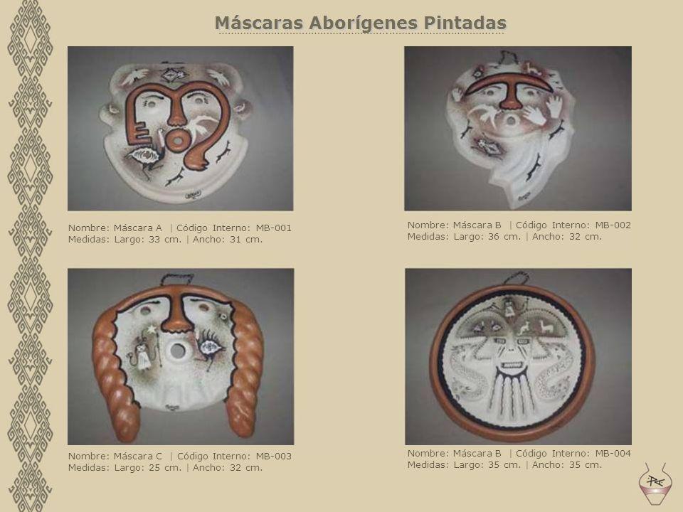 Máscaras Aborígenes Pintadas ……………………………………………….…………………………….… Nombre: Máscara A | Código Interno: MB-001 Medidas: Largo: 33 cm. | Ancho: 31 cm. Nombre
