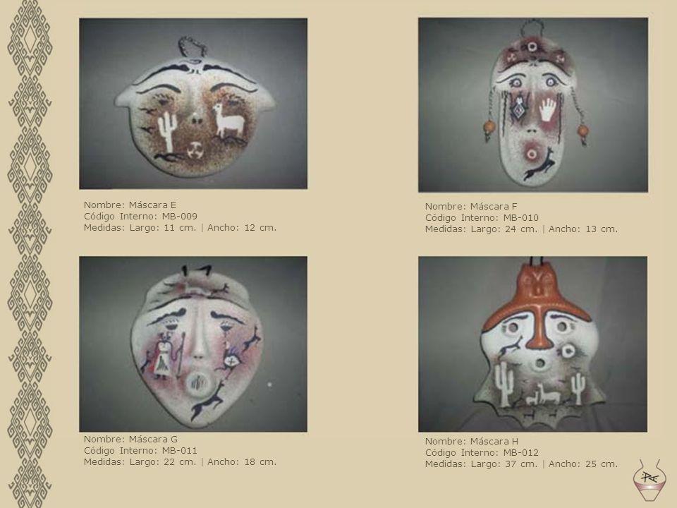 Nombre: Máscara E Código Interno: MB-009 Medidas: Largo: 11 cm. | Ancho: 12 cm. Nombre: Máscara F Código Interno: MB-010 Medidas: Largo: 24 cm. | Anch