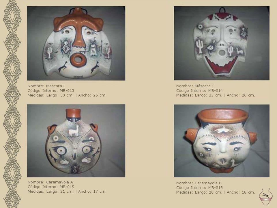 Nombre: Máscara I Código Interno: MB-013 Medidas: Largo: 30 cm. | Ancho: 25 cm. Nombre: Máscara J Código Interno: MB-014 Medidas: Largo: 33 cm. | Anch