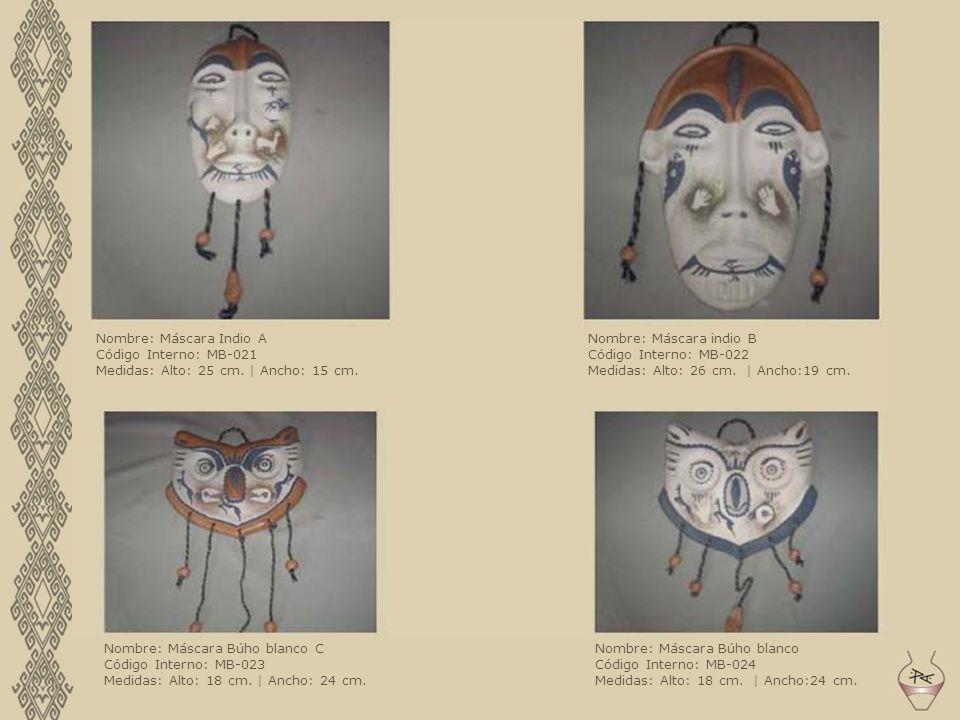 Nombre: Máscara Indio A Código Interno: MB-021 Medidas: Alto: 25 cm. | Ancho: 15 cm. Nombre: Máscara indio B Código Interno: MB-022 Medidas: Alto: 26