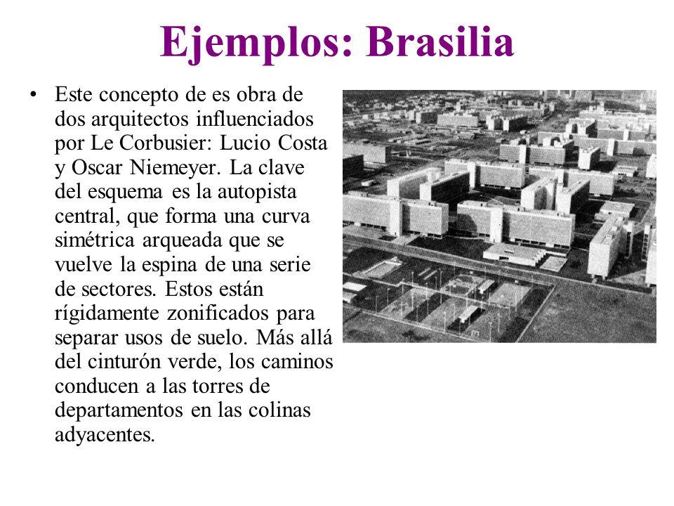 Ejemplos: Brasilia Este concepto de es obra de dos arquitectos influenciados por Le Corbusier: Lucio Costa y Oscar Niemeyer. La clave del esquema es l