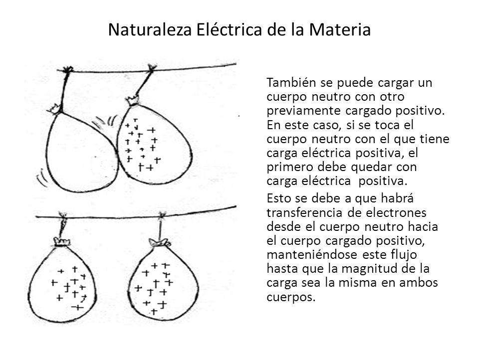 Naturaleza Eléctrica de la Materia También se puede cargar un cuerpo neutro con otro previamente cargado positivo. En este caso, si se toca el cuerpo