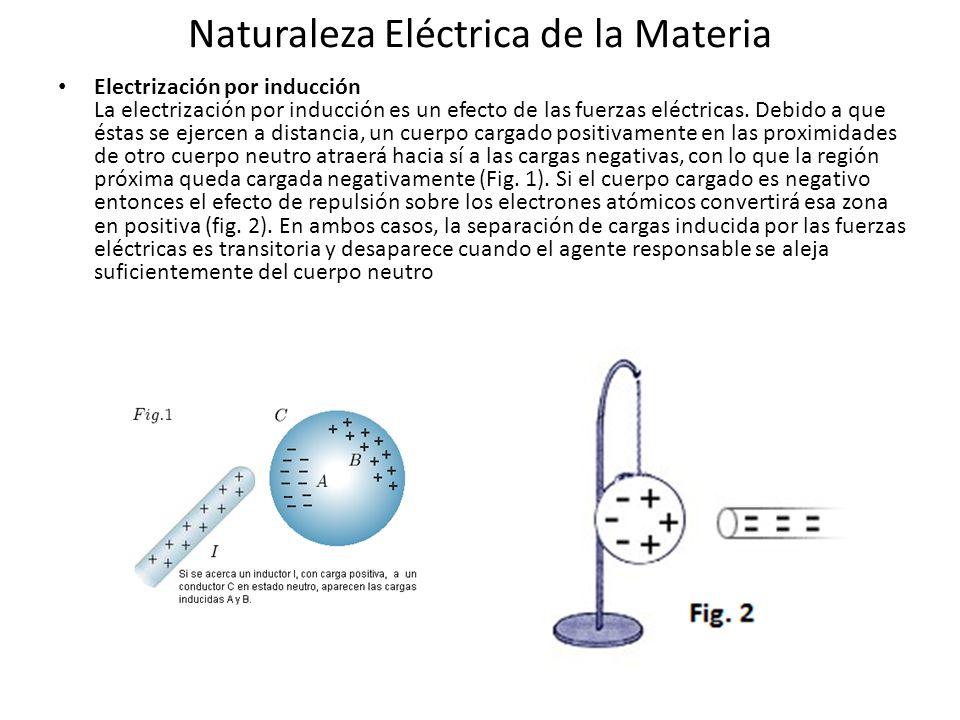 Naturaleza Eléctrica de la Materia Electrización por inducción La electrización por inducción es un efecto de las fuerzas eléctricas. Debido a que ést