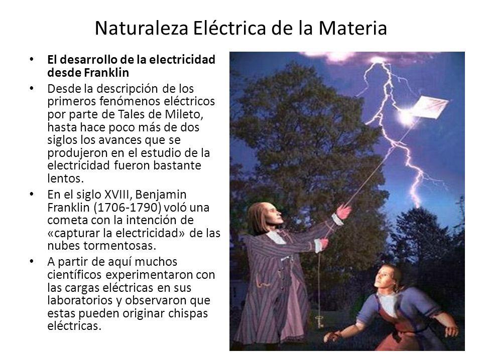 Naturaleza Eléctrica de la Materia El desarrollo de la electricidad desde Franklin Desde la descripción de los primeros fenómenos eléctricos por parte