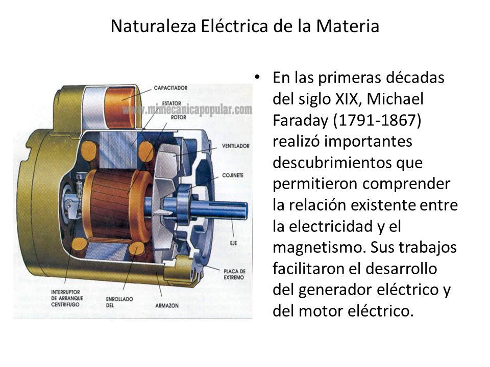 Naturaleza Eléctrica de la Materia En las primeras décadas del siglo XIX, Michael Faraday (1791-1867) realizó importantes descubrimientos que permitie