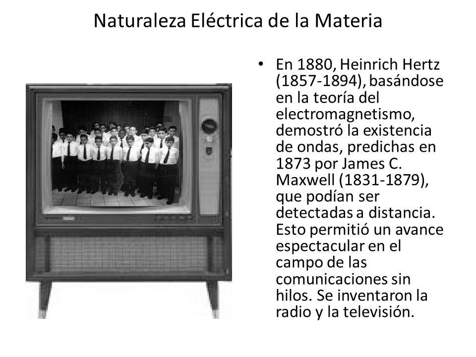 Naturaleza Eléctrica de la Materia En 1880, Heinrich Hertz (1857-1894), basándose en la teoría del electromagnetismo, demostró la existencia de ondas,