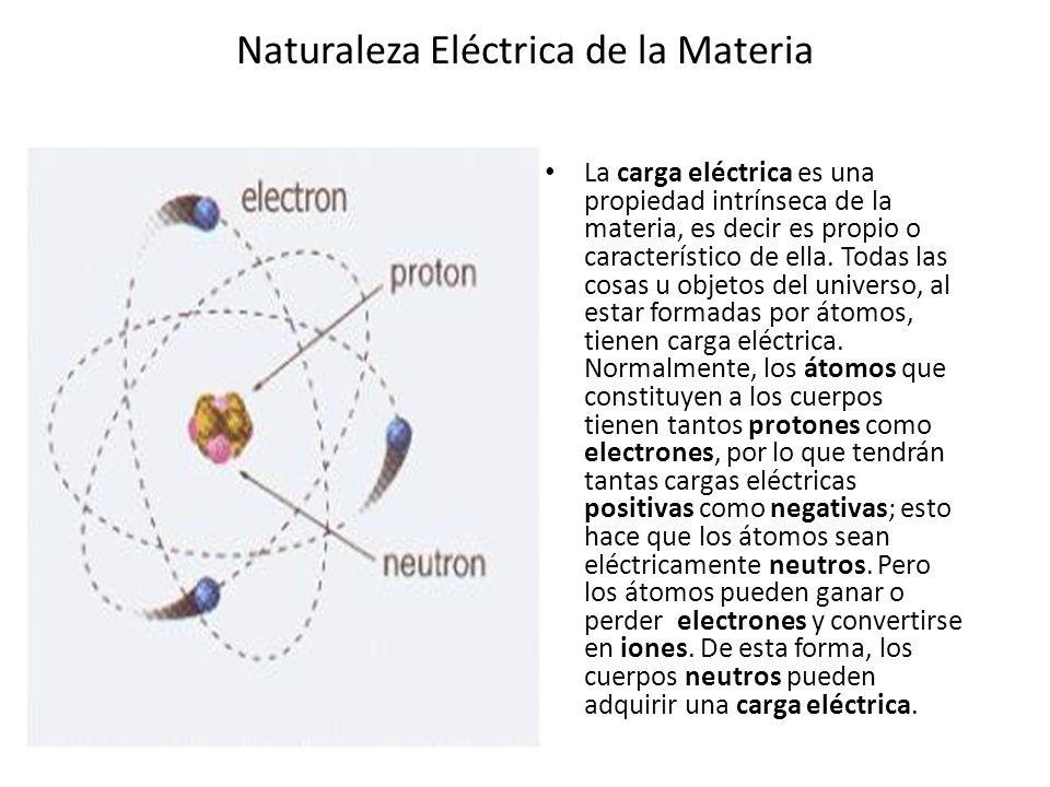 Naturaleza Eléctrica de la Materia Cuando un átomo (eléctricamente es neutro) gana electrones, adquiere carga eléctrica negativa y se convierte en un ión negativo.