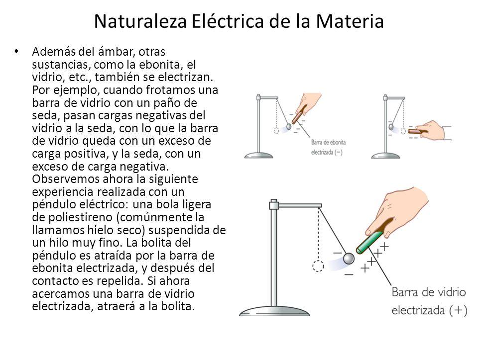 Naturaleza Eléctrica de la Materia Además del ámbar, otras sustancias, como la ebonita, el vidrio, etc., también se electrizan. Por ejemplo, cuando fr