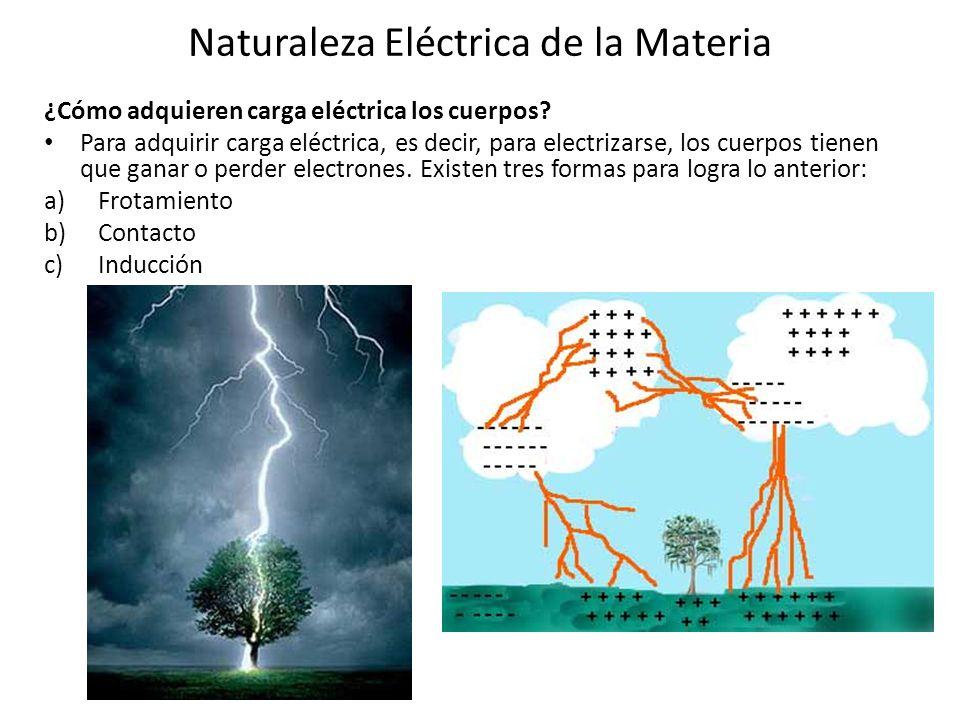Naturaleza Eléctrica de la Materia ¿Cómo adquieren carga eléctrica los cuerpos? Para adquirir carga eléctrica, es decir, para electrizarse, los cuerpo