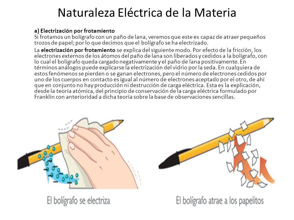 Naturaleza Eléctrica de la Materia a) Electrización por frotamiento Si frotamos un bolígrafo con un paño de lana, veremos que este es capaz de atraer