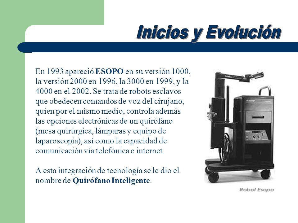 En 1993 apareció ESOPO en su versión 1000, la versión 2000 en 1996, la 3000 en 1999, y la 4000 en el 2002. Se trata de robots esclavos que obedecen co