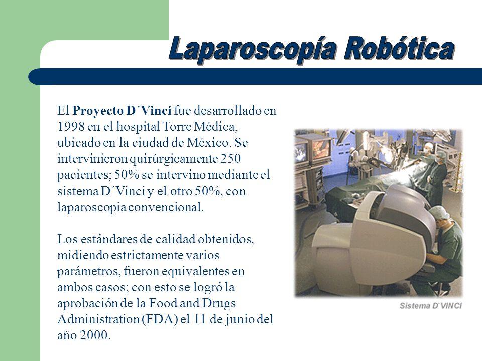 El Proyecto D´Vinci fue desarrollado en 1998 en el hospital Torre Médica, ubicado en la ciudad de México. Se intervinieron quirúrgicamente 250 pacient